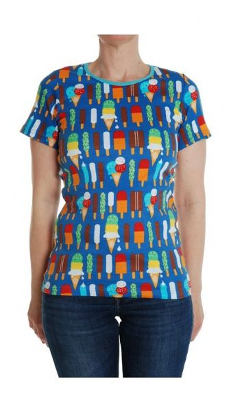 Duns Mama Short Sleeve Top Blue Ice Cream